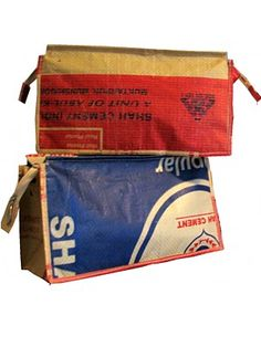 A unique wet bag is made from a recycled cement bag Made by Shohojogita, a Fair Trade, non profit organisation assisting rural destitute Bangladeshi women.
