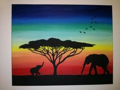 canvas painting DIY elephant silhouettes NikkiRoseArtistry