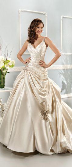 Generous A-line Straps #V-neck Beading&#Crystal Pick Up Skirt Chapel Train Satin #Wedding Dresses