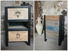 Petit Meuble à Tiroirs / Reclaimed Pallets and Wine Crates Cabinet