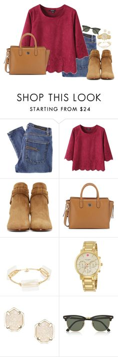 """""""never stop looking for what's not there"""" by preppy-classy ❤ liked on Polyvore featuring Nobody Denim, Yves Saint Laurent, Tory Burch, Bourbon and Boweties, Kate Spade, Kendra Scott and Ray-Ban"""