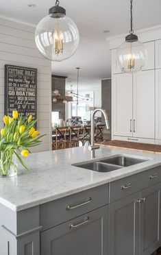 Marble KItchen Island Countertop Fitted with Cutting Board - Transitional - Kitchen Grey Kitchen Island, Gray And White Kitchen, Grey Kitchen Cabinets, Kitchen Redo, New Kitchen, Kitchen Ideas, White Cabinets, Gray Island, Maple Cabinets