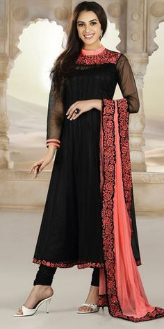 $138.4 Black Faux Georgette Resham Work Anarkali Salwar Kameez 26873