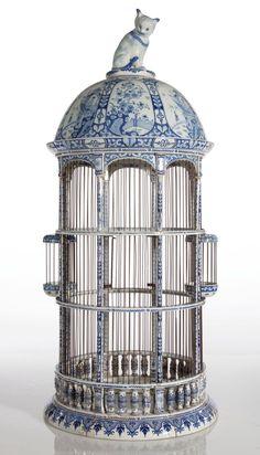 ♥ ~ ♥ Blue and White ♥ ~ ♥ Dutch Delft Blue and White Bird Cage Century Delft, Blue And White China, Blue China, Decoration Baroque, Antique Bird Cages, Decorative Bird Cages, Vintage Birds, French Vintage, Vintage Clocks