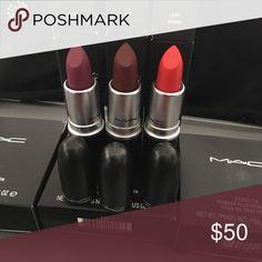 Authentic MAC Lipstick Rebel* Sin * Lady Danger Matte Finish New In Box Fast Ship MAC Cosmetics Makeup Lipstick