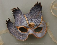 Gray & Gold Spiral wings bird leather Mask by Brenda Lyons Gold Masquerade Mask, Masquerade Costumes, Bird Wings Costume, Venitian Mask, Mask Drawing, Drawing Poses, Feather Mask, Bird Masks, Carnival Masks