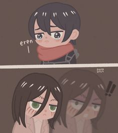 Anime Demon, Anime Chibi, Kawaii Anime, Anime Manga, Anime Guys, Attack On Titan Comic, Attack On Titan Ships, Attack On Titan Fanart, Eren X Mikasa