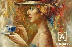 Девушка с голубой чашкой. Купить работы автора – Анатолий Рожанский - Art Auction ArtsLand