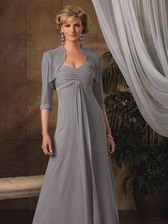Gray Sleeves et Sweetheart Beads Working Empire Chiffon Satin Floor Length Mother of the Bride Gowns / Dresses - £ Mother Of Groom Dresses, Bride Groom Dress, Bride Gowns, Mothers Dresses, Mob Dresses, Bridesmaid Dresses, Formal Dresses, Tunic Dresses, Dresses 2014