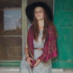 Her face tells us she's thinking of something happy and personal.  Pastels - Danielle Richard