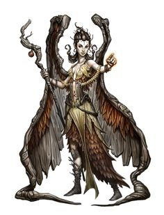 Female Gathlain Druid - Pathfinder PFRPG DND D&D 3.5 5th ed d20 fantasy