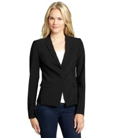 Elie Tahari black stretch wool 'Lindley' two snap jacket