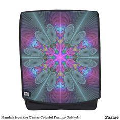 Mandala from the Center Colorful Fractal Art Backpack