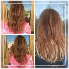 """Achieve highlights with no damage to your own hair with these AIRess lightweight 100% Human Hair Extensions. This happy customer added the AIRess Extensions in """"Strawberry Copper"""" to create highlights in her natural red hair (seen in the photo on the right)  View all 27 colors in this Collection."""
