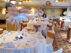 LOVE feathers as part of centerpieces