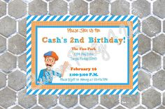 Everyone LOVES Blippi!!!!!!! So why not have a Blippi Party? Start off your fun adventure with these adorable invitations! They can be done in Landscape Style or Portrait Style! You Choose!!! This listing is for a set of 12 invitations. Each measures 5 x 7 and includes envelopes.