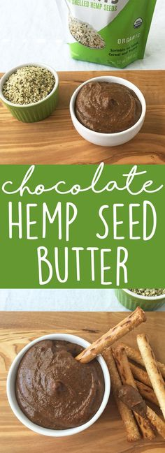 Chocolate Hemp Seed Butter Recipe: creamy, healthy, and naturally-sweetened - this chocolate hemp seed butter is delicious in a sandwich, spread on a waffle, and as a dip for fruit or pretzels! Nut-free and vegan hemp seed recipe.