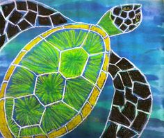 For the Love of Art: Turtles -- Oil pastels with a watercolor wash sprinkled with salt.