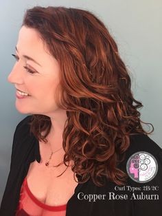 Copper Rose Auburn haircolor on Naturally Curly Wavy hair by Carleen Sanchez Nevada's Curly Hair Expert 775.721.2969 www.haircutcolor.com