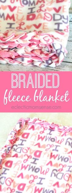 No-Sew Braided Fleece Blanket | Handmade fleece blanket, no sewing skills required, just cut and braid. Great intro craft project for kids.