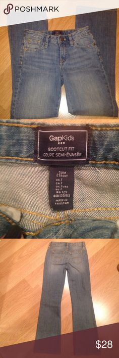 NEW! Gapkids bootcut fit size 7 slim jeans Brand new and never washed or worn. Size is 7 slim with a bootcut. From gapkids. GAP Bottoms Jeans