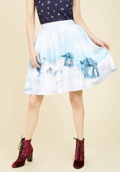 Drop It Like It's Hoth A-Line Skirt | Mod Retro Vintage Skirts | ModCloth.com As a down-to-earth fashionista with a strong sense of quirk, you totally see this A-line skirt by Her Universe as a part of your upcoming outfits. Snowspeeders and AT-AT's duke it out on the blue and white background of this ice planet skirt, making for an amazingly offbeat look everyone will want to echo!