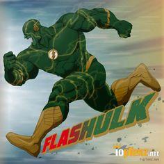 10 Marvel DC Superhero Mashups - FlasHulk - http://www.toptenz.net/10-marvel-dc-superhero-mashups.php #hulk #flash #comics