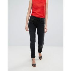 Pepe Jeans New Brooke Skinny Jeans ($94) ❤ liked on Polyvore featuring jeans, black, denim skinny jeans, cut skinny jeans, tall jeans, ruffle jeans and print skinny jeans