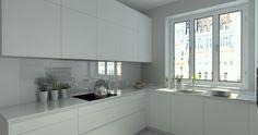 Cocina Santos Modelo Line E Blanco con Encimera Granito - Kitchen And Bathroom Paint, Kitchen Room Design, Modern Kitchen Cabinets, Modern Kitchen Design, Kitchen Layout, Home Decor Kitchen, Interior Design Kitchen, Kitchen Furniture, Home Kitchens