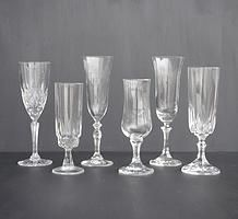 Cut and pressed glass champagne flutes for hire for weddings and events