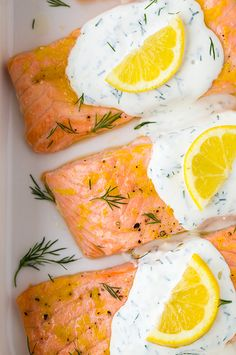 Baked Lemon Salmon with Creamy Dill Sauce - so easy and so good! Only about 10 minutes prep!
