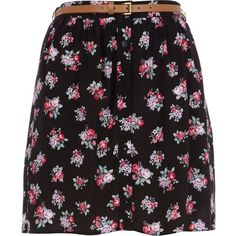 River Island Black floral print button down skirt (17 CAD) ❤ liked on Polyvore featuring skirts, floral knee length skirt, floral skirt, vintage style skirts, button down skirt and button up skirt