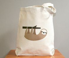 Canvas tote bag, sloth. Sturdy 100% 10oz. cotton canvas.