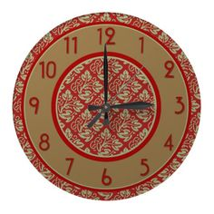 Mint and Red Tree of Life Pattern Wall Clock