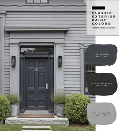 Exterior Paint Color Combinations - Room for Tuesday Exterior Gris, Exterior Gray Paint, Exterior Paint Colors For House, Paint Colors For Home, Exterior Design, Black Trim Exterior House, Exterior Doors, Grey Homes Exterior, Outside House Paint Colors