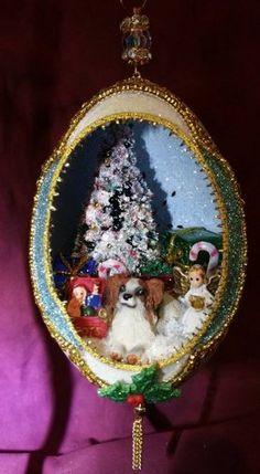 Sable and White Puppy for Christmas Jumbo Goose Egg by SpiritsinShellsShop on Etsy