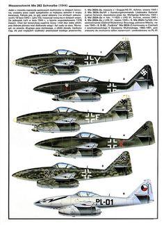 Messerschmitt Me 262 variants color by kitchener.lord, via Flickr