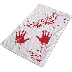 """Blood Bath"" Hand Towel (White/Red)"