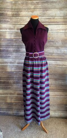 Playful 1970's Purple Stripped Maxi Dress Small by CobbWebbTreasures on Etsy