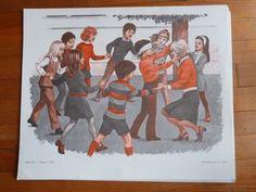 la MAITRESSE l ECOLE la recreation Ancienne Affiche scolaire MDI Lecture loft