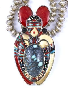 Phil Loretto, Jemez Pueblo: detail of 'butterfly songs' necklace
