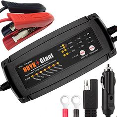 12V/24V Car Battery Charger 2/4/8A or 1/2/4A 3 in 1 7-Stage Smart Vehicle Battery Charger Maintainer & Desulfator GEL WET AGM Battery Charger Including Rings,Clips & Cigarette Lighter (12V 2/4/8A)  Selectable charging current to suit battery's capacity or battery type for AGM GEL WET.  Temperature self-compensation,charging voltage adapts to temperature to prevent over or under battery charging.  Capable of recharging severely discharged or heavily sulfated battery with a desulfation f...