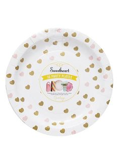 Sweetheart Gold And Pink Heart Print Paper Plates. Pack Of 10. Great Pictures