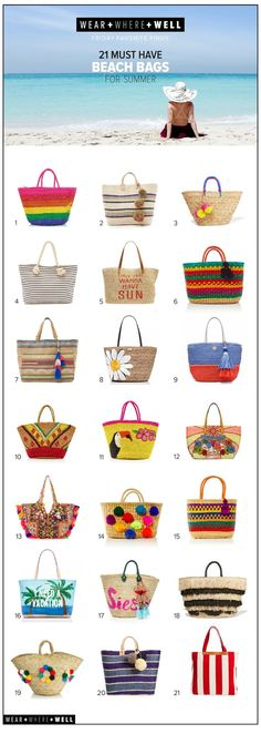 Friday Favorite Finds: 21 Best Beach Bags for Summer Happy Friday, friends! With the temperatures rising and summer fast approaching, thoughts of beach Happy Friday, Beach Best Friends, Best Beach Bag, Summer Bags, Summer Wear, Happy Summer, Summer Diy, Bag Women, Beach Essentials