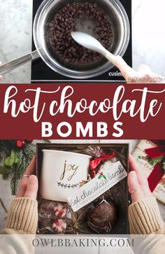 Chocolate Bomb, Hot Chocolate Gifts, Christmas Hot Chocolate, Hot Chocolate Bars, Hot Chocolate Recipes, Chocolate Shells, Hot Cocoa Spoons Recipe, Hot Cocoa Cake Recipe, Homemade Chocolate Bars