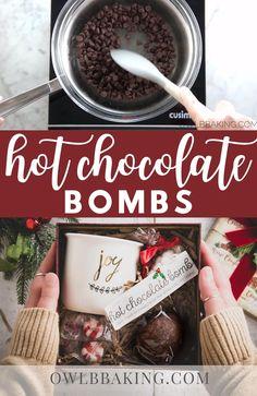 Hot Chocolate Gifts, Christmas Hot Chocolate, Chocolate Bomb, Hot Chocolate Bars, Hot Chocolate Recipes, Homemade Hot Chocolate, Hot Chocolate Toppings, Chocolate Diy, Christmas Snacks