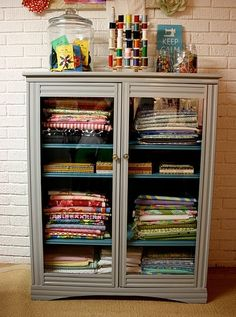 Ah, such a cool way to display all the awesome fabric I hoard.