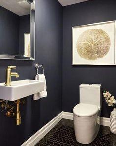 modern powder rooms 31 Inspiring Black Powder Room Design Ideas With Modern Style Powder Room Paint, Black Powder Room, Powder Room Design, Gold Powder, Green Powder, Small Room Design, Bathroom Design Small, Bathroom Interior Design, Modern Bathroom