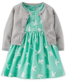 A cozy cardigan with cute prints? Some girls are just born with a knack for style — Carter's Baby Girls' Dress & Sweater Set Carters Baby Girl, My Baby Girl, Baby Girls, Little Girl Fashion, Kids Fashion, Toddler Outfits, Girl Outfits, Bebe Love, Dress With Cardigan