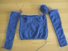 When you're knitting a bottom up sweater and reach the directions for  'joining the body and sleeves' do you find it difficult to visualise how  the pieces fit together? If you lay the two sleeves and body out like the  photo above you may find it easier to picture where the knitting is going  next. A round will go across the back of the body, around one sleeve,  across the front and around the second sleeve. The stitches that are lying  against each other at the underarms are put 'on hold'…
